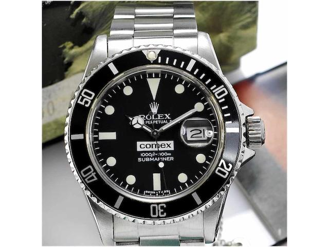 Rolex. A rare stainless steel automatic centre seconds divers watch made for Comex together with original guarantee papers and fitted box Submariner, 'Comex 6014' Ref:16800, Case No.7276905, 1983