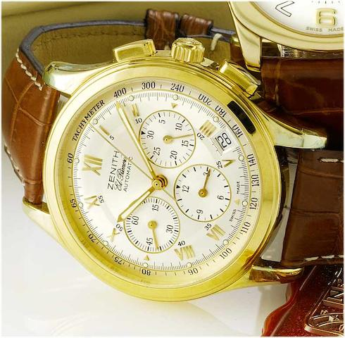 Zenith. An 18ct gold automatic chronograph wristwatchEl Primero, 1990's