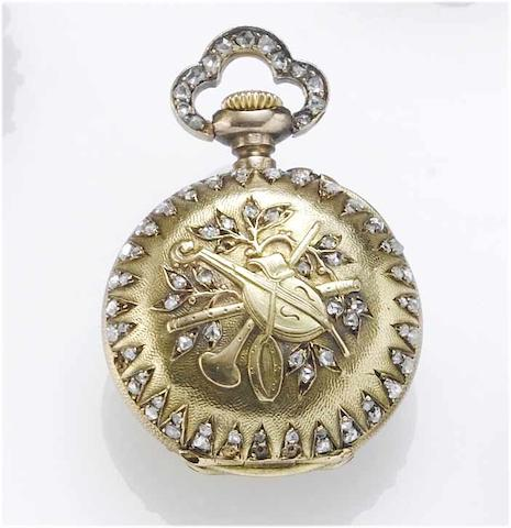 Morel & Cie. A fine gold and diamond set miniature fob watch Morel & Cie, J.Chaumet Successeur 62 Rue Richelien, Paris, No.15842