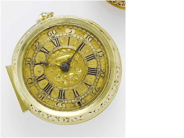 Samuel Macham. A very fine and rare early 18th century 22ct gold pair-cased double-train hour-striking clock watch No.1193 circa 1700