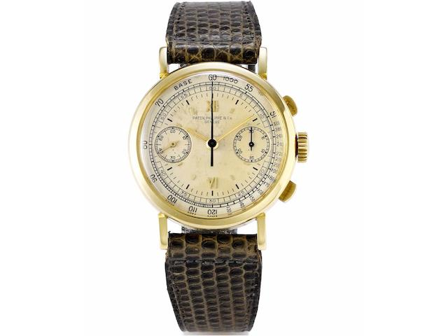 Patek Philippe. A fine and very rare 18ct gold chronograph wristwatch together with original Patek Philippe fitted box and Extract from ArchivesRef:591, Case No.621706, Movement No.862473, Made in 1940, Sold December 4th 1940