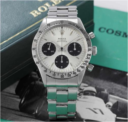 Rolex. A fine and rare stainless steel chronograph wristwatch with original box and instructions Ref:6239, 'Cosmograph Daytona' circa 1970