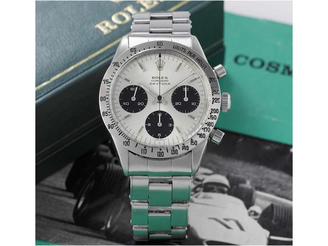 Rolex. A fine and rare stainless steel chronograph wristwatch with original box and instructionsRef:6239, 'Cosmograph Daytona' circa 1970