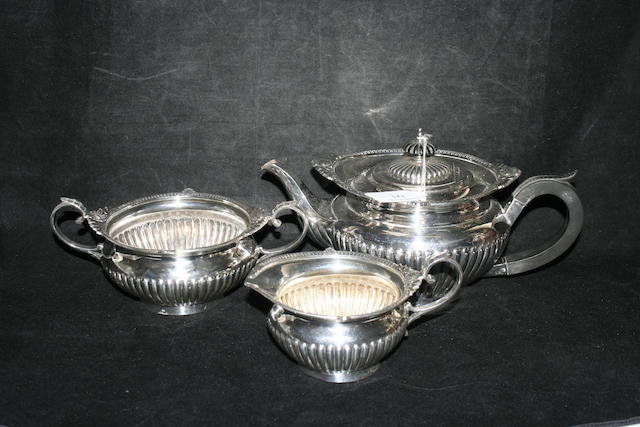 A three piece tea service by Walker & Hall, Sheffield 1915