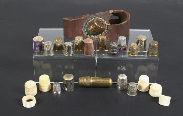 A collection of thimbles, mostly 20th century