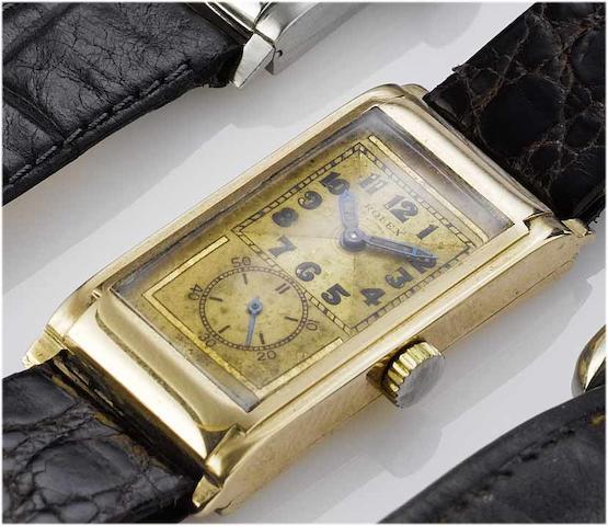Rolex. A fine 9ct rose gold rectangular wristwatch Case No.67916, circa 1940