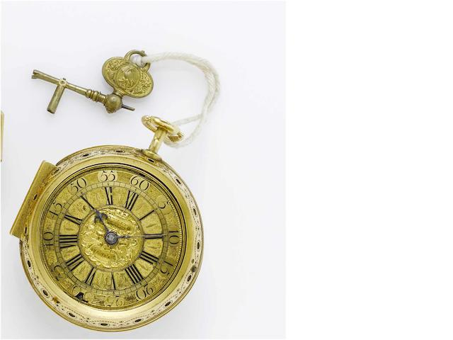 George Tyler. A very fine and rare early 18th century 22ct gold pair cased repeating pocket watch  No.50, circa 1710