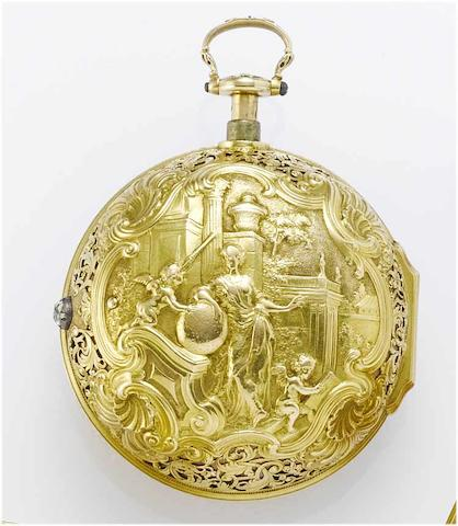 Charles Cabrier. A fine and rare late 18th century 22ct gold pair cased repeating pocket watch  No.4670, circa 1770