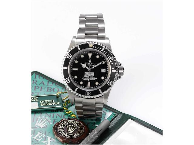 Rolex. A rare stainless steel automatic centre seconds divers watch made for Comex together with original certificate, bracelet-setting tool and fitted box Sea-Dweller, 'Comex 3177' Ref:16660, Case No.8509635, 1984