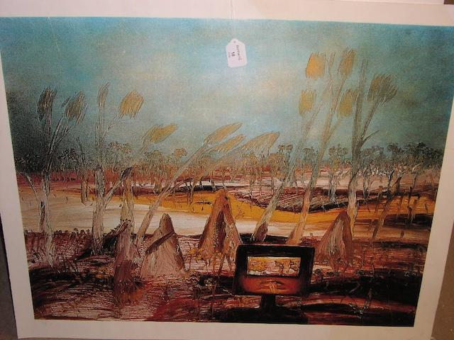 Sidney Nolan (Australian, 1917-1992) Kelly 1, lithograph printed in colours, signed and numbered 48/100 in pencil, published by Christies Contemporary Art, 60.5 x 76cm.