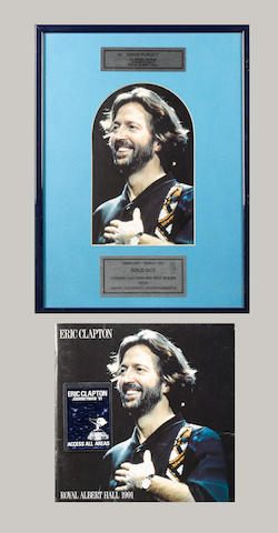 An Eric Clapton 'Sold Out' concert award,  1991,