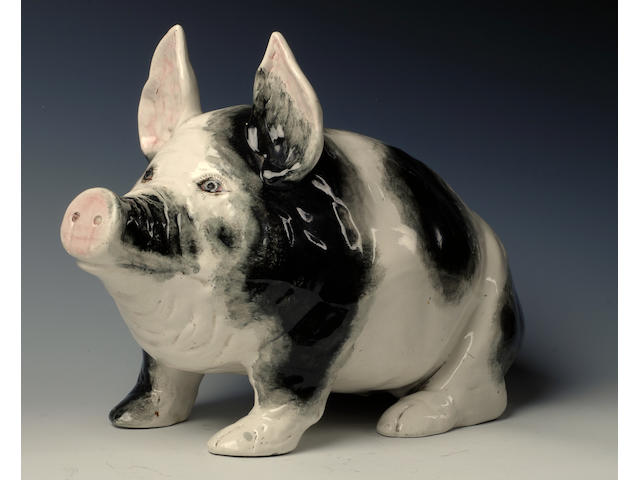'Black and White' A large Wemyss pig