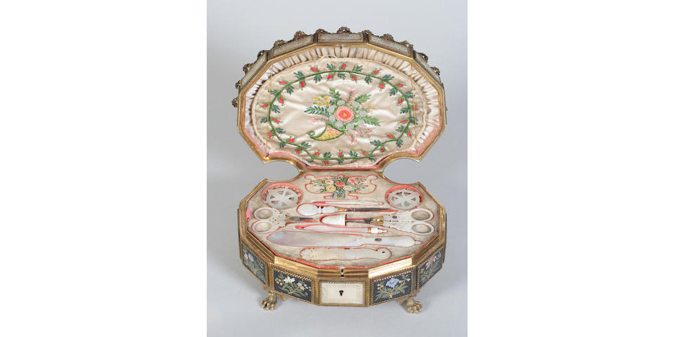 A fine French Palais Royal fully fitted musical sewing box of scallop shell form