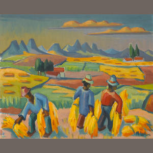 Maggie (Maria Magdalena) Laubser (South African, 1886-1973) The harvesters 45.8 x 55.2 cm. (18 x 21¾
