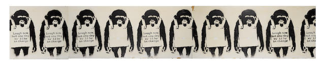 Banksy (British, born 1975) 'Laugh Now' a large stencil spray paint on wood panel