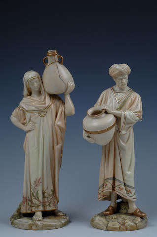 A pair of Royal Worcester figures  date code for 1889