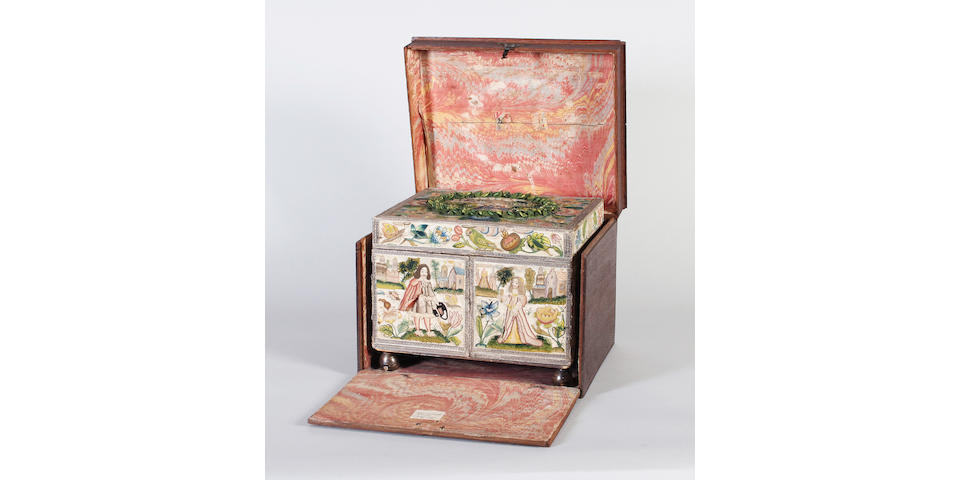 The Gape Casket: A fine mid-17th century needlework casket of rectangular form, executed in a variety of stitches and techniques