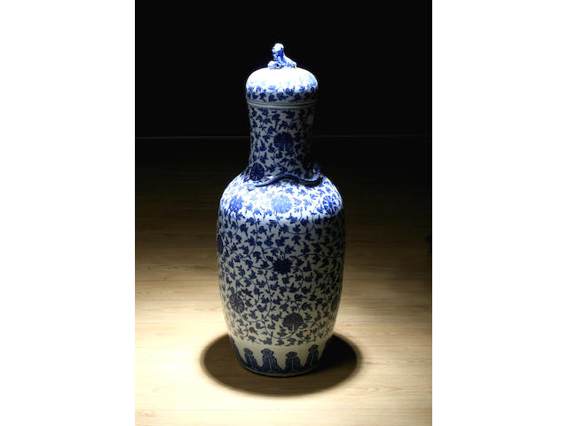 A blue and white floor vase and cover, 19th Century