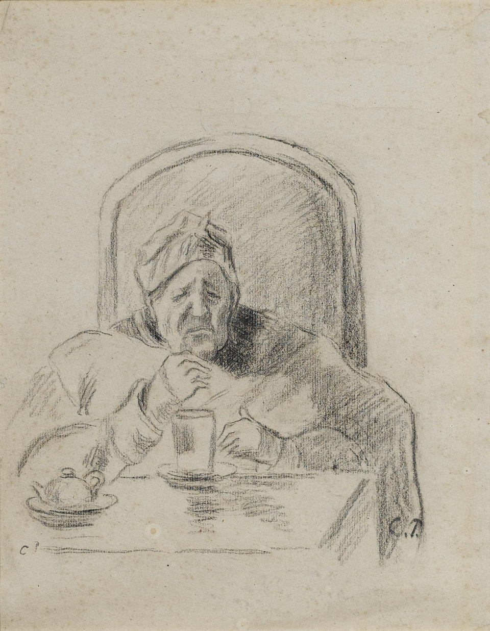 Camille Pissarro (French, 1830-1903) Portrait of the Artist's Mother (recto) Botanical Studies (verso) 29 x 23 cm (11 1/2 x 9 in)