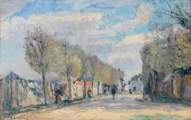 Albert Lebourg (French, 1849-1926) Rue à la Ferté sous Jouarre 46 x 73 cm (18 1/8 x 28 3/4 in)