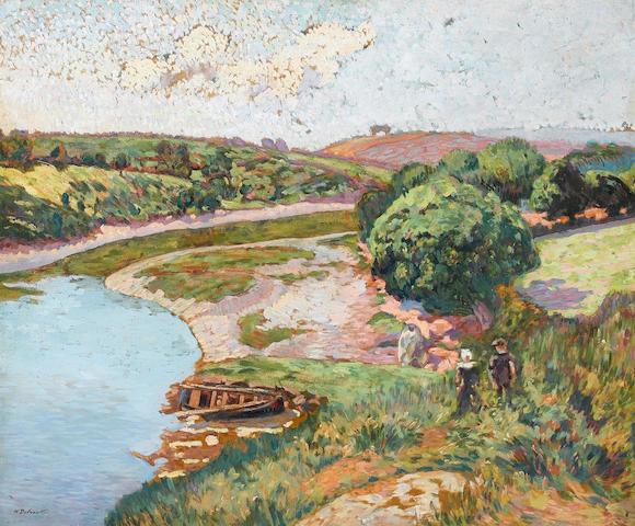 Henri Delavallée (French, 1862-1943) Breton et Bretonne au bord de L'Aven, 54 x 64 cm (21 1/4 x 25 1/4 in)