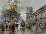 Antoine Blanchard (French, 1910-1988) A stormy day in Paris 33 x 46 cm (13 x 18 in)
