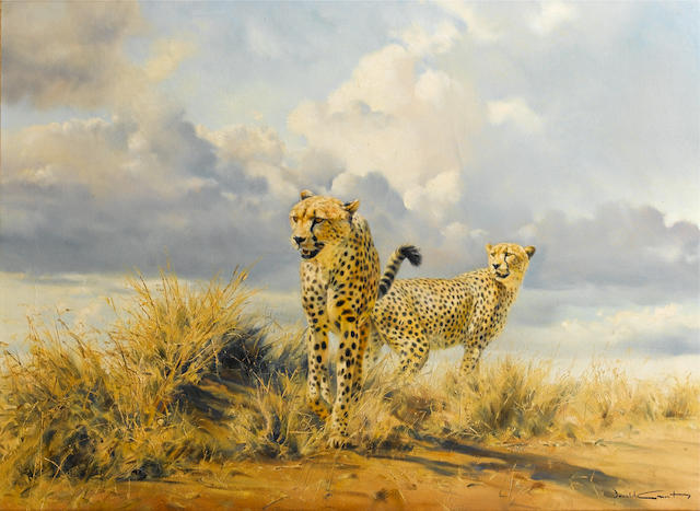 Donald Grant (British, 1942-2001) Two Cheetahs
