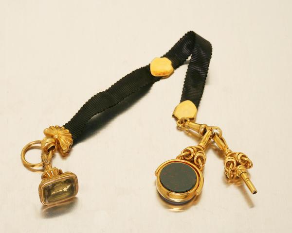 A Victorian ribbon fob