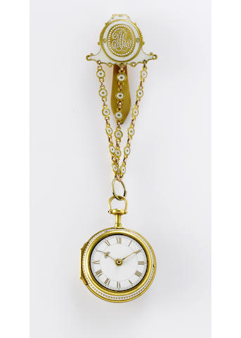 Benjamin Steele. A fine and very rare early 18th century 22ct gold and enamel pair cased repeating pocket watch with matching chatelaine circa 1750