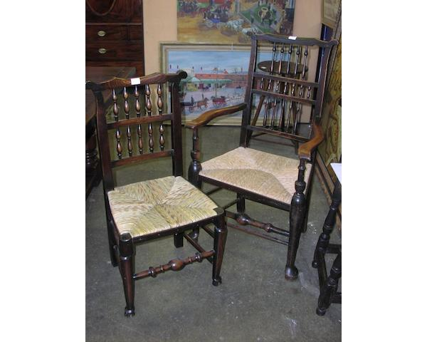 A matched set of ten country made ash dining chairs,
