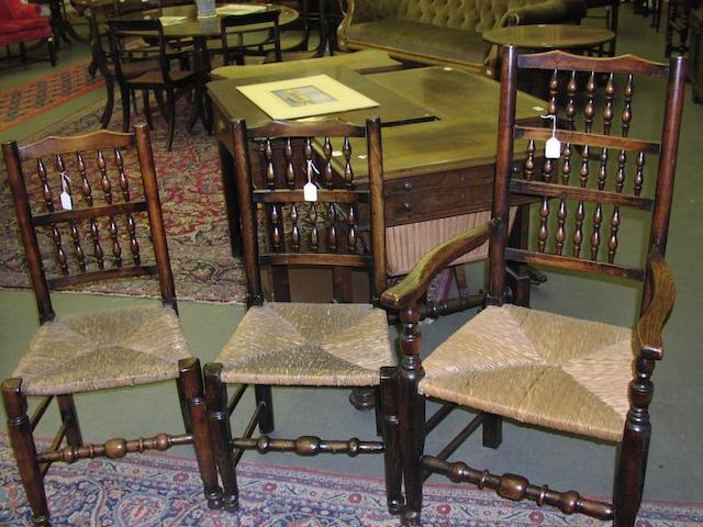 A matched set of eight 19th Century fruitwood and ash dining chairs,