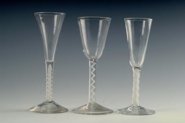 An opaque twist wine glass circa 1760