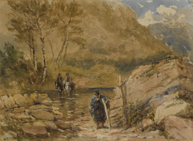 David Cox Snr., O.W.S. (British, 1783-1859) A Welsh Ford (recto); A Welsh country lane (verso) 20 x 27.5 cm. (8 x 11 in.) (recto); 19 x 27 cm. (7 1/2 x 10 1/2 in.) (verso)