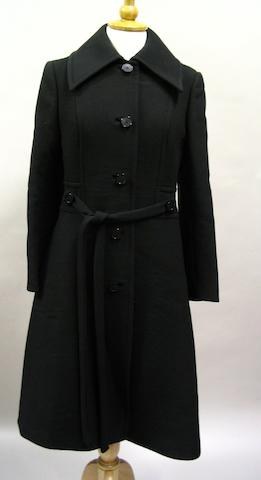 A Diorling 1960/70's long black woollen coat