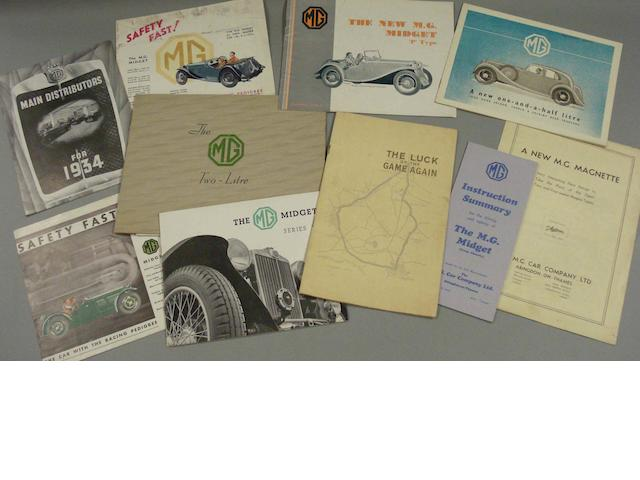 A selection of 1930s MG sales literature,