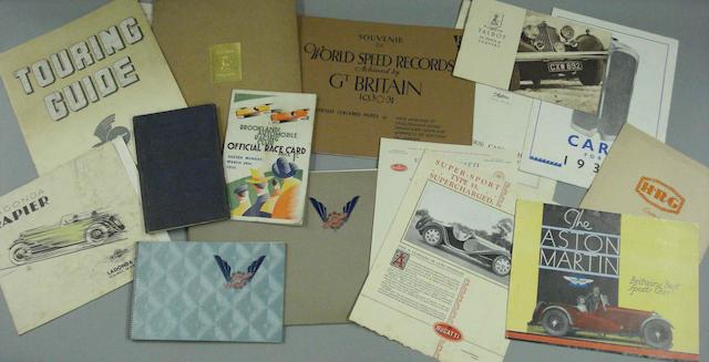 A collection of assorted 1930s sales literature and ephemera,