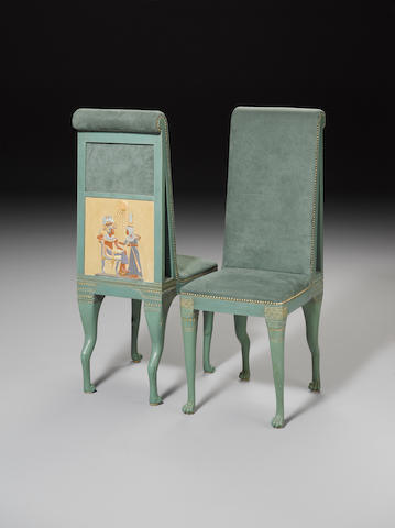 A set of four Egyptian-style parcel-gilt green painted, polychrome decorated chairs 20th Century