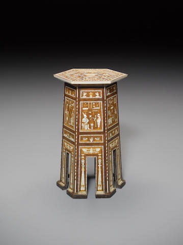 An Egyptian-style polychrome decorated ivory and mother of pearl inlaid cedar wood hexagonal occasional table 20th Century
