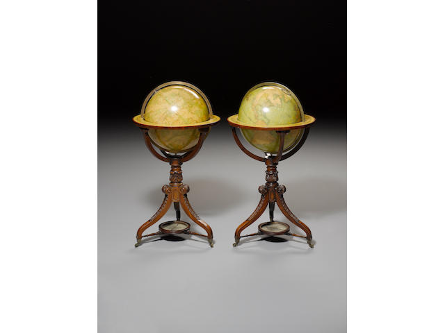 A pair of W & T.M.Bardin 18-inch terrestrial and celestial library globes, English, circa 1830, 2