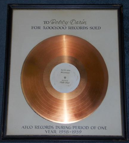 A 1958/9 'In-House' award presented to Bobby Darin, by Atco Records, in acknowledgement of 5,000,000 records sold