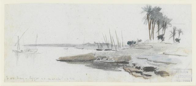 Frederick Arthur Bridgman (American, 1847-1928) Ruin's edge, Sohag; Passing a Nile village 9 x 21.5