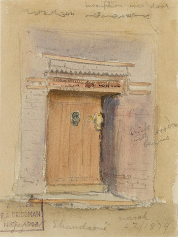 Frederick Arthur Bridgman (American, 1847-1928) An Egyptian doorway; Tombs of the Kings, Thebes; Tom