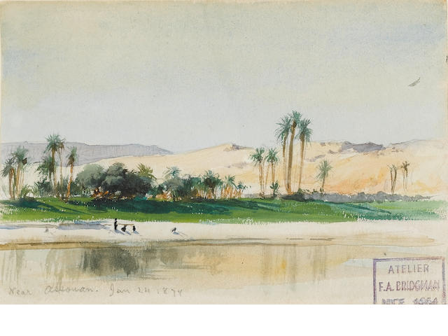 Frederick Arthur Bridgman (American, 1847-1928) On the river near Aswan 9.5 x 15.2 cm. (3¾ x 6 in.)