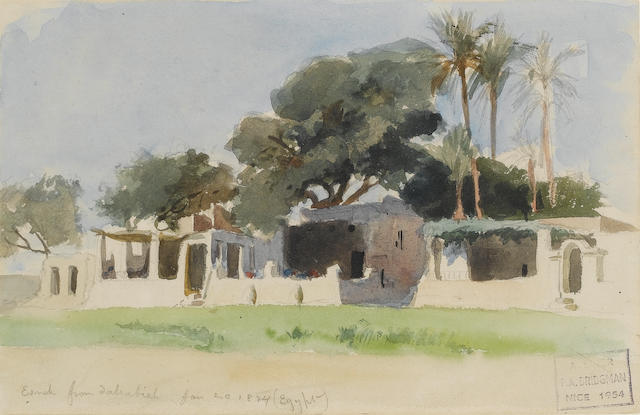 Frederick Arthur Bridgman (American, 1847-1928) Houses in the shade of large trees, Esna, from a dahabieh 13 x 20 cm. (5 x 8 in.)