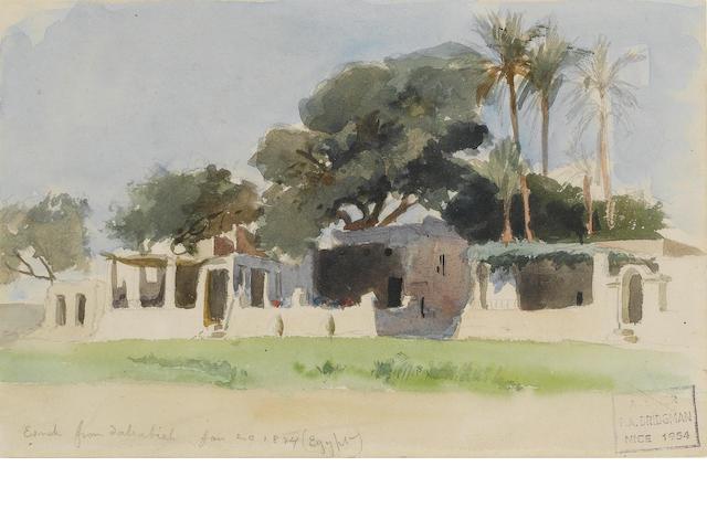 Frederick Arthur Bridgman (American, 1847-1928) Esna from a dahabieh 13 x 20 cm. (5 x 8 in.)