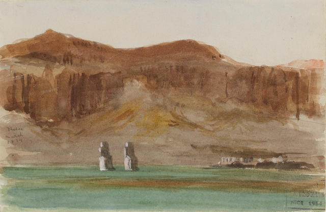 Frederick Arthur Bridgman (American, 1847-1928) The Colossi of Memnon at Thebes 12.7 x 19 cm. (5 x 7½ in.)