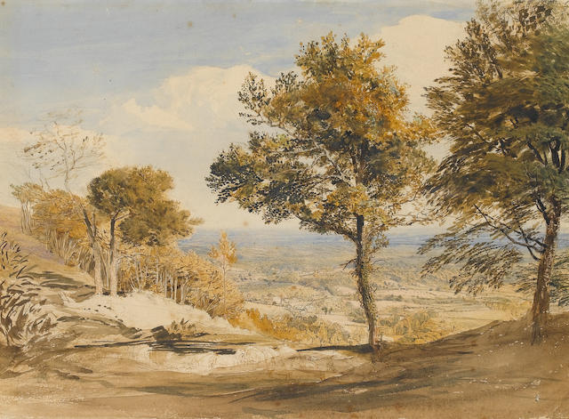 Attributed to John Linnell, View in Kent, wc