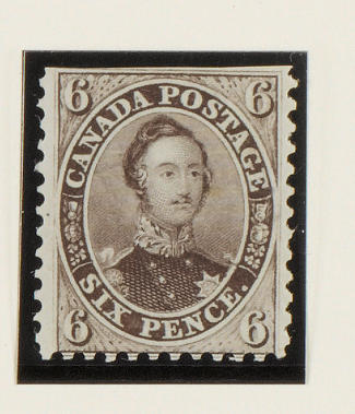 Canada: 1858-59 6d. brownish grey mint, cut straight just above top frame line, small gum bend, apparently unmounted, photocopy of Philatelic Foundation Certificate (1972) for a pair from which this example comes. (724)