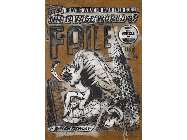 Faile (American, Canadian, Japanese) 'The Savage World of Faile', 2007 with a stencil/ screenprint design titled 'Faile Type With Mermaids' verso