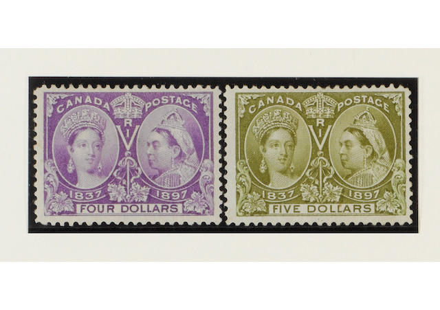 Canada: 1897 Jubilee ½c. to $5 set mint, $1 and $5 with some gum redistribution, $3 with light bend otherwise mainly fine. (301)